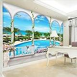 3D Estéreo Junto Al Mar Piscina Mural Papel Tapiz Sala De Estar Tema Hotel Papel De Pared De Fondo Para Paredes Fondos De Pantalla 3D,200*140Cm