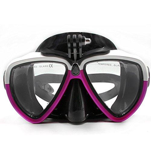 jeerui soporte de tornillo de cristal con desmontable máscara de buceo Scuba tubo de buceo gafas de natación de silicona para deporte cámara Gopro HD Hero 233+ 4SJCAM Xiaomi Yi (blanco y morado)