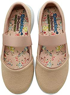 KazarMax Women's and Girl's Beige Air Cooled Memory Foam Latest Collection,Comfortable Ballet Flat's Ballerinas/Bellies (Made in India)