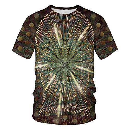 Zaima Summer Men's Short-Sleeved 3D Digital Printing Optical Illusion T-Shirt