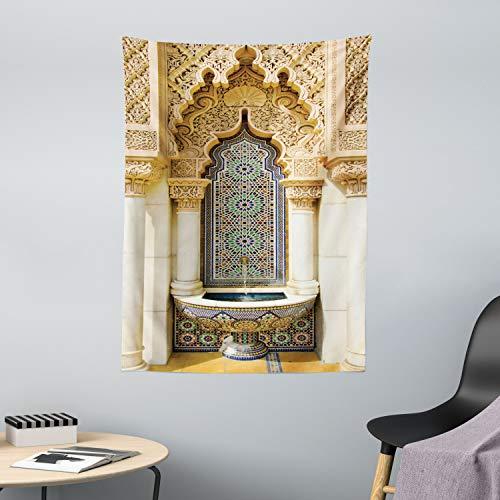 ABAKUHAUS Marokkanisch Wandteppich & Tagesdecke, Vintage Eastern Art, aus Weiches Mikrofaser Stoff Wand Dekoration Für Schlafzimmer, 110 x 150 cm, Elfenbein Blassbraun Blau