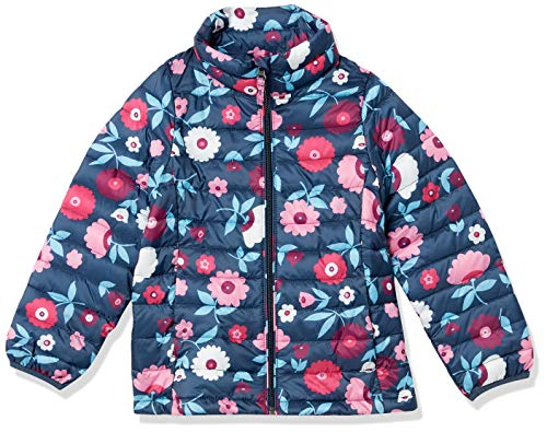 Amazon Essentials Light-Weight Water-Resistant Packable Mock Puffer Jackets Chaqueta, Floral Azul Marino, S
