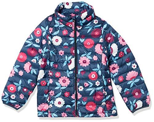 Amazon Essentials Mädchen Jacke, Marineblau mit Blumenmuster, S (Herstellergröße: 6-7)