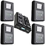 Core SWX 4 Pack NEO Slim 98Wh 14.8V 6.6Ah V-Mount Lithium-Ion Battery Brick - with Core SWX Fleet Micro Four-Position Simultaneous V-Mount Battery Fast Charger