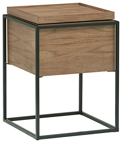 Amazon Brand - Rivet Axel Wood & Metal End/Side Table with Hidden Storage Compartment, 43 x 58 x 43cm, MDF with Walnut Veneer