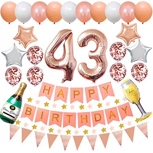Happy 43rd Birthday Party Decorations Rose Gold Latex and Confetti Balloons Happy Birthday Banner Foil Number Balloons and More for 43 Years Old Birthday Party Supplies