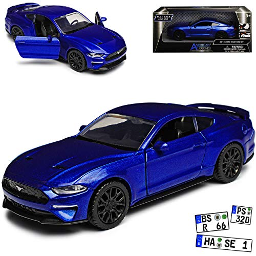 Motormax Ford Mustang VI Coupe Blau Modell Ab 2014 Version ab Facelift 2017 mit Rückzugsmotor ca 1/43 1/36-1/46 Modell Auto