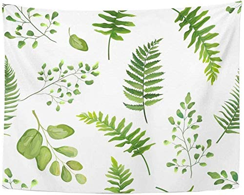 QYMeng Tapestry Greenery Botanical Rustic Floral Watercolor Forest Fern Frond Leaf Natural Tapestry Home Decor 150x200cm/59 79inches
