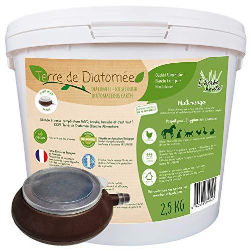 l'herbe Haute ® Terre de Diatomée Blanche Alimentaire - 2,5 kg Seau avec souffleuse - Utilisable en Agriculture Biologique - Origine Naturelle sans Transformation Chimique - Nombreux usages