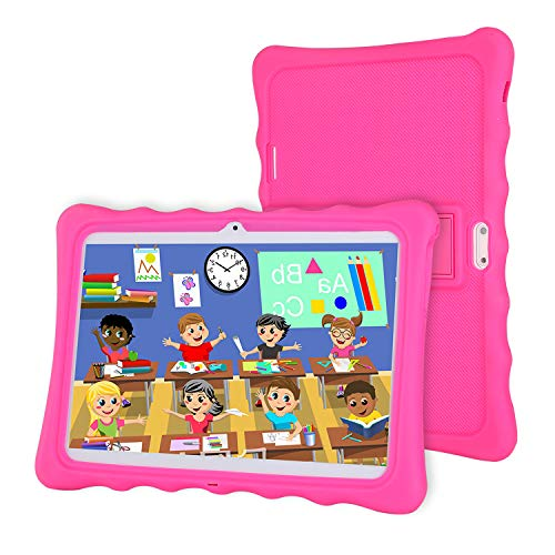 LAMZIEN - Tablet infantil de 10 pulgadas, Android 8.1 Quad-Core 1.8 GHz 2 GB RAM 32 GB de almacenamiento 1280 x 800 IPS Display 3G Dual-SIM software para niños preinstalado, color rosa