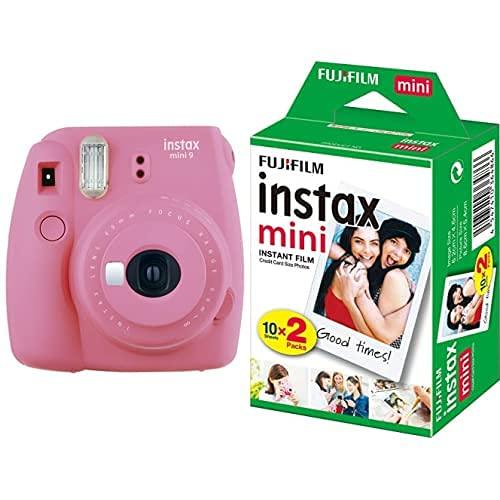 Fujifilm - instax mini 9 - Pack d'Appareil photo instantané avec 1 Film Monopack - Rose & Fujifilm - Twin Films pour instax mini - 86 x 54 mm - Pack 2 x 10 Films