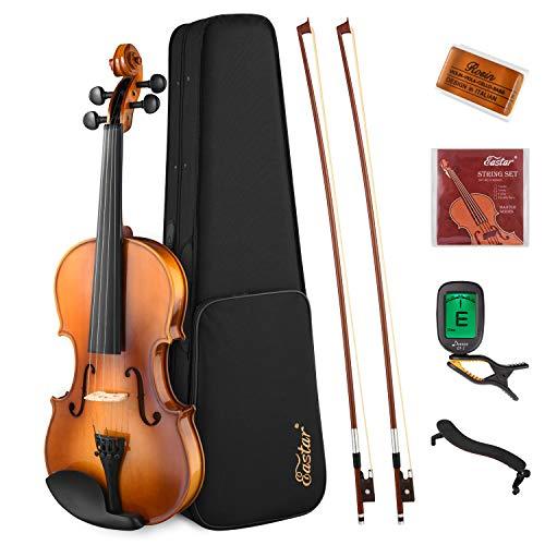 Eastar Violino 4/4 Legno Massello Violini 4/4 Set con 2 Archi Violino per Studente Principiante Professionale (EVA-330)