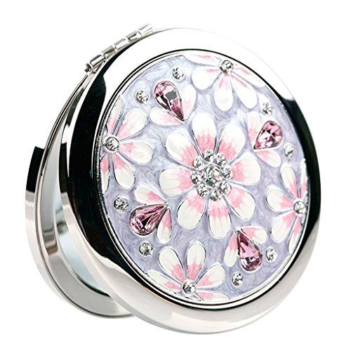 FYCZ Cosmétique Miroir Métal Portable Pliant De Poche Double-face Cosmétique Soins De La Peau Cosmétique Rasage Et Voyager (Couleur : Silver)