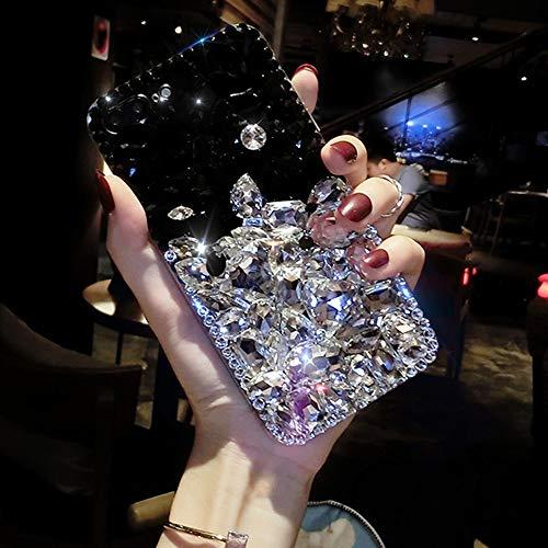 Cfrau Full Diamond Case with Black Stylus for Samsung Galaxy J3 2018,Luxury 3D Handmade Sparkle Glitter Crystal Rhinestone Bling Gemstone Jewelled Soft Bumper PC Case,Black White