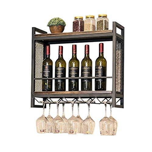 PYROJEWEL Estante del Vino de Madera Retro del Estante del Estante de Almacenamiento de Vino Racke Botella y el Vaso de Vino del Vidrio sostenedor del Marco del sostenedor de Taza