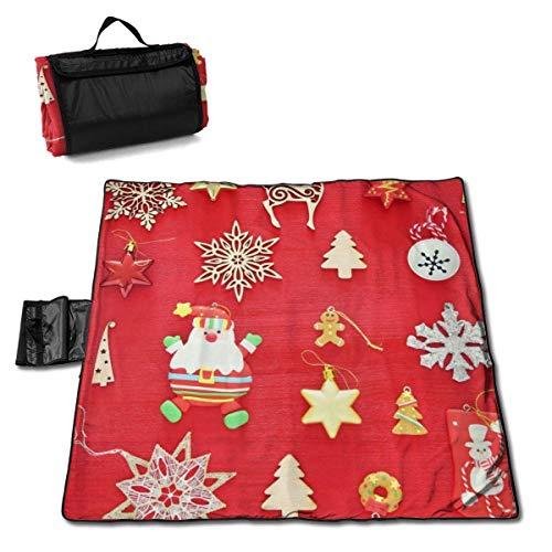 Suo Long Couverture de Pique-Nique de décorations de fête de Noël avec Tapis de Pique-Nique à Main pour Camping pelouse de Parc de Plage