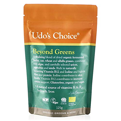 UDO'S CHOICE - Beyond Greens, Vegan Super Greens Powder with Barley, Oats and Wheat, Rich in Antioxidants, Use in Smoothies or Baked Goods, 125g