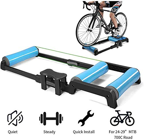 LJ Portable Bicycle Roller Training Device Foldable Indoor Bike Trainer Silent Aluminum Alloy Bicycle Training Bracket,for 24-29 inch Mountain Bike
