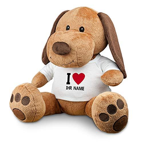 printplanet - Kuscheltier Hund mit Namen oder Text personalisiert - Motiv: I Love - Stofftier, Plüschtier, Kinderzimmer