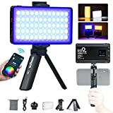RGB Camera Video Light, App Control LED Camera Light for Video Recording Full Color 29 Lighting Scene Dimmable Studio Lights Kit with Portable Holder for Photography YouTube Video Conference Lighting