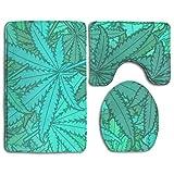 Paquete de 3 marihuana Leaf Weed Green Cozy Memory Foam Bath-Shower Set de alfombras de baño, respaldo de goma antideslizante Secado rápido - Súper absorbentes Alfombras de alfombras de baño Alfombras