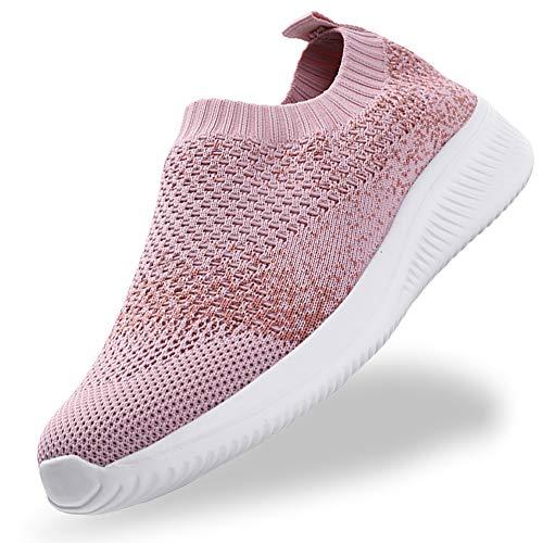 Gaatpot Donna Sneaker Casual Slip On Scarpe da Camminata Mesh Scarpe da Corsa su Strada Interno Esterno Scarpe Pink 42.5/43EU=43CN