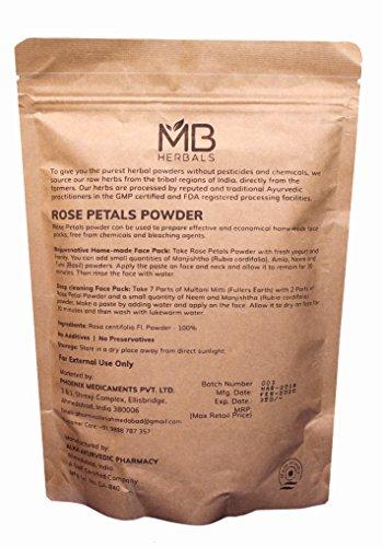 MB Herbals Rose Petals Powder 227g | Half Pound | 8 oz | Rosa centifolia | Kashmir Origin | for Natural Face Packs & Facial Mask Formulations | 100% Pure | Chemical-Free | Preservative-Free