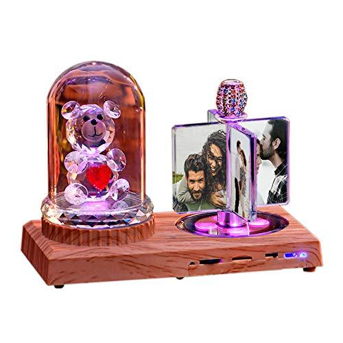 Luz De Noche Led Con Música Bluetooth Personalizada En 7 Colores - Diseña Tu Lámpara De Álbum De Cristal Con Caja - Decoración Del Hogar Aniversario Ideas De Cumpleaños Para Mujeres Oso De Cristal