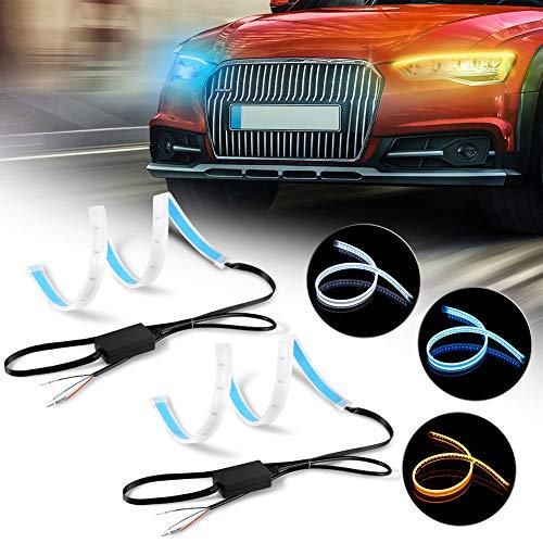 Luces de circulación diurna 3 Modos, 3 Colores, 450LED, 2PCS 60cm Tira de luces LED para coche, IP65 Impermeable Tiras de Luces LED DRL DC 12V para Coche Tira del Faro DelanteroSeñal de giro