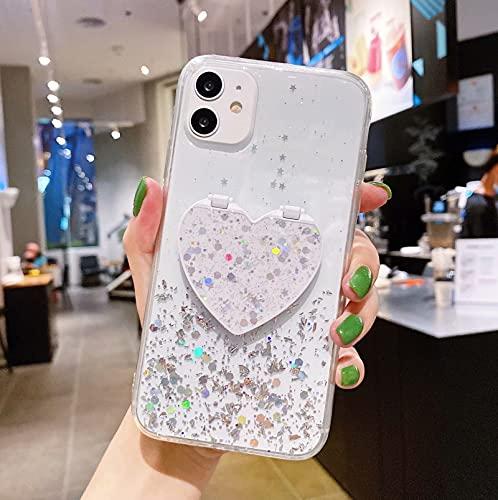 Miagon Crystal Glitzer Hülle für Samsung Galaxy S10 Plus,Süß Bling Klar Handyhülle Durchsichtig Sparkle Sterne Case Cover Slim Dünn Schutzhülle,Spiegel Standhalter Klar