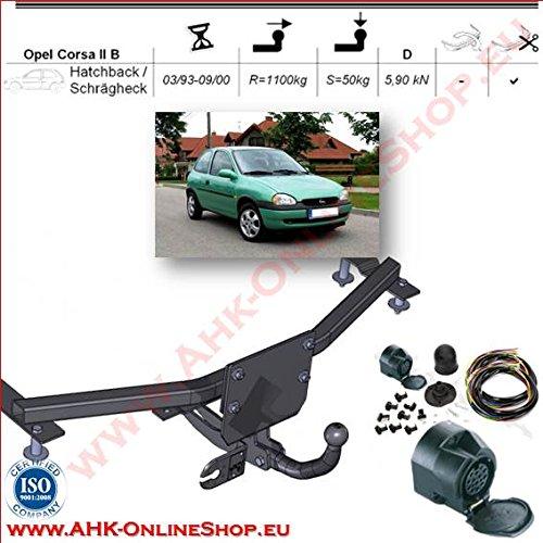 AHK Anhängerkupplung mit Elektrosatz 13 polig für Opel Corsa B 1993-2000 Schrägheck Anhängevorrichtung Hängevorrichtung - starr, mit angeschraubtem Kugelkopf