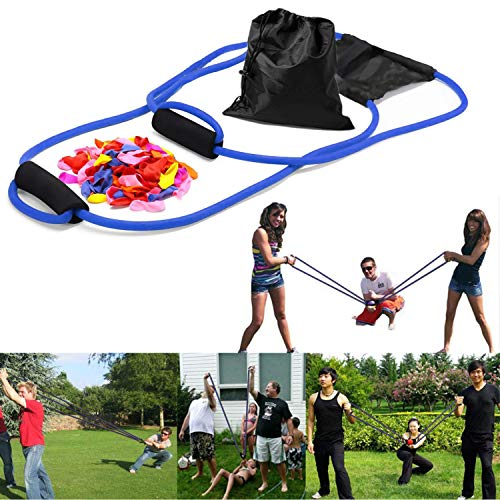 YHmall 3 Person Water Balloon Launcher with 500 Water Balloons, Catapult/Cannon Slingshot Free Balloons. Outdoor Game for Kids and Adults