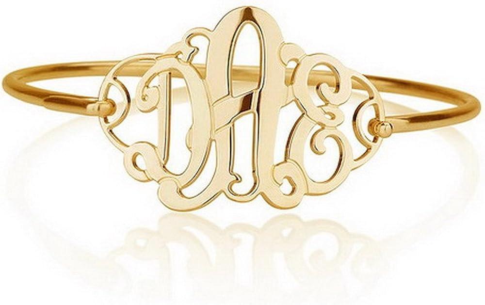 CZ Monogram Bracelet Sterling Silver 24K Gold Plated Handcrafted Made in USA Monogram Bracelet 1 inch Monogram Bracelet