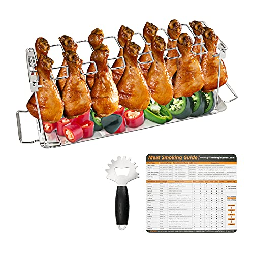 GFTIME Parrilla de alitas de Pollo, Soporte para asador con Bandeja de Goteo para Asar Verduras, Paquete con raspador y guía para Ahumado de Carne, Accesorios para Barbacoa