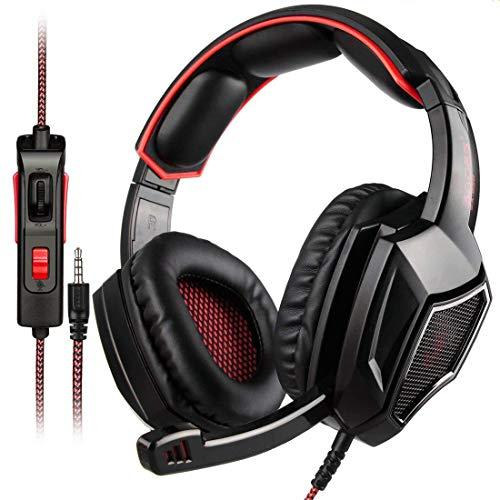 WLMGWRXB Auriculares de juego para PC y PS4 y Xbox One, Nintendo Switch, Auriculares Gamer Mic con aislamiento de ruido con cable de 3,5 mm