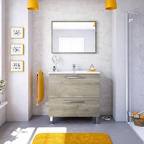 Dmora Mobile per Bagno ad un'anta a ribalta e Specchio, Colore Rovere Alaska, cm 80 x 80 x 45