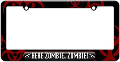 Graphics and More Here Zombie, Zombie - AK47 License Plate Tag Frame - Red Biohazard Design