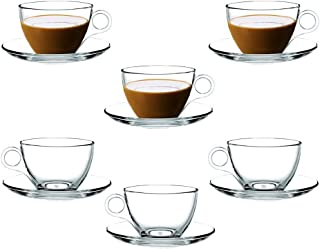 Coffee Cup Glass Teacup, Clear and Lightweight Glass Tea and Coffee Cup with Saucer(Set of 6) Gift Box