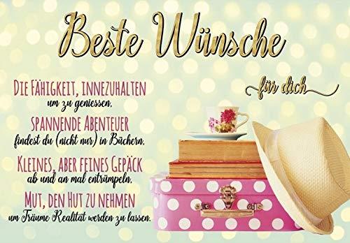 1 Glückwunschkarte Beste Wünsche für Dich ... BlackChili by Greyson & Rhys mit Umschlag 11,5x16,6 cm