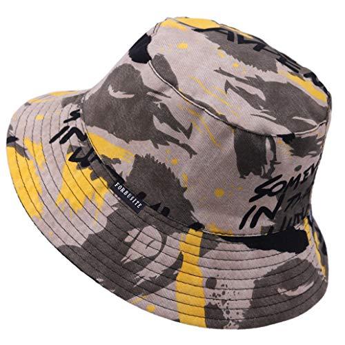 Jazmiu - Sombrero unisex, tipo pescador, de moda, estampado con dibujos de frutas, ideal para actividades al aire libre, reversible, se puede doblar para guardar BT88 Amarillo grisáceo Taille unique