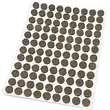 Adsamm®   108 x almohadillas de fieltro   Ø 10 mm   marrón   redondo   Protectores de suelo para patas de mueble   auto-adhesivos   con grosor de 3,5 mm de la máxima calidad