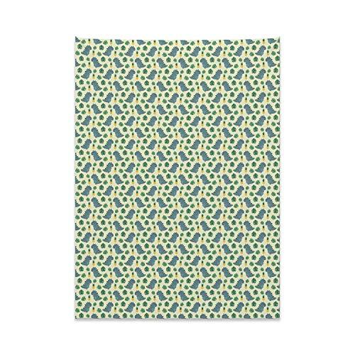 ABAKUHAUS Kindergarten Wandteppich & Tagesdecke, Dinos Monstera Ananas, aus Weiches Mikrofaser Stoff Modernster Digitaldruck Technologie, 110 x 150 cm, Mehrfarbig