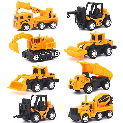 Vanplay Mini Legierung Baustellen Fahrzeuge Autos Set Auto Bagger Spielzeug Zurückziehen Spielautos Modelle für Kinder ,8er Set