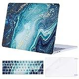 MOSISO Hülle Kompatibel mit MacBook Pro 13 A2159/A1989/A1706/A1708 2019-2016, Plastik Hülle & Passende Farbe Tastaturschutz & Displayschutz Kompatibel mit MacBook Pro 13 Zoll, Kreative Welle Marmor