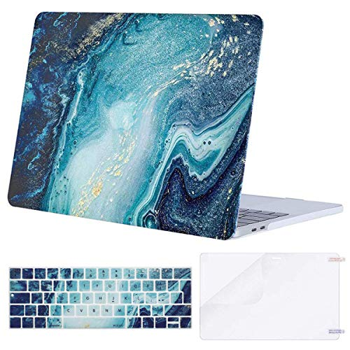 MOSISO Compatible with MacBook Pro 13 inch Case 2016-2020 Release A2338 M1 A2289 A2251 A2159 A1989 A1706 A1708, Plastic Hard Case & Keyboard Cover Skin & Screen Protector, Creative Wave Marble