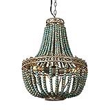 Newrays Vintage Antique Blue Wood Bead Chandelier Pendant Three Lights Finishing Ceiling Fixtures(5# Blue)
