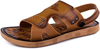 Xujw-shoes, Mens Outdoor Sandals Summer Water Beach Slipper Shoes for Men Antislip Fashion PU Leather Metal Metal Button Decoration Dual Purpose Open Toe