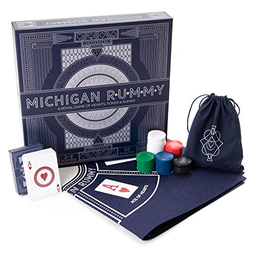 Michigan Rummy: A Royal Game of Hearts, Poker & Rummy – Betting & Bluffing Board Game – Classic Family Card Game for Adults & Kids – 200 Poker Chips, 24' x 24' Mat & Custom Card Deck