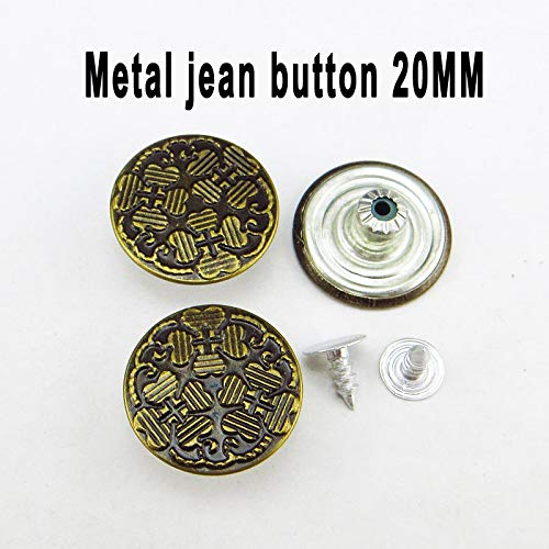 Replace Jeans Tack,Jeans Button Replacement Kit,Jeans Buttons Metal Replacement,Metal Button Adjustable Decorative Garment Button Sewing Accessories 30 Piece Set 20Mm 3