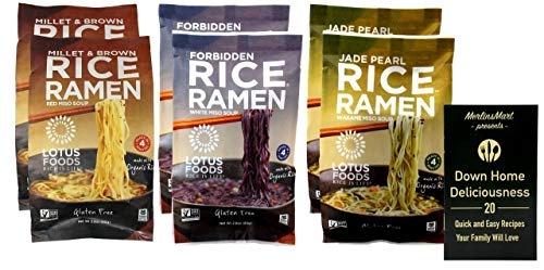 Lotus Foods Gluten Free Rice Ramen Noodle Soup | Vegan | 3 Flavor 6 Bag Variety (2) each: Millet & Brown Rice Red Miso, Forbidden White Miso, Jade Pearl Wakame (2.8 Ounces) Plus Recipe Booklet Bundle
